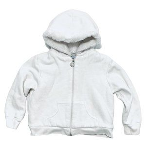 Soft Faux Fur Lined White Zip-Up Hoodie